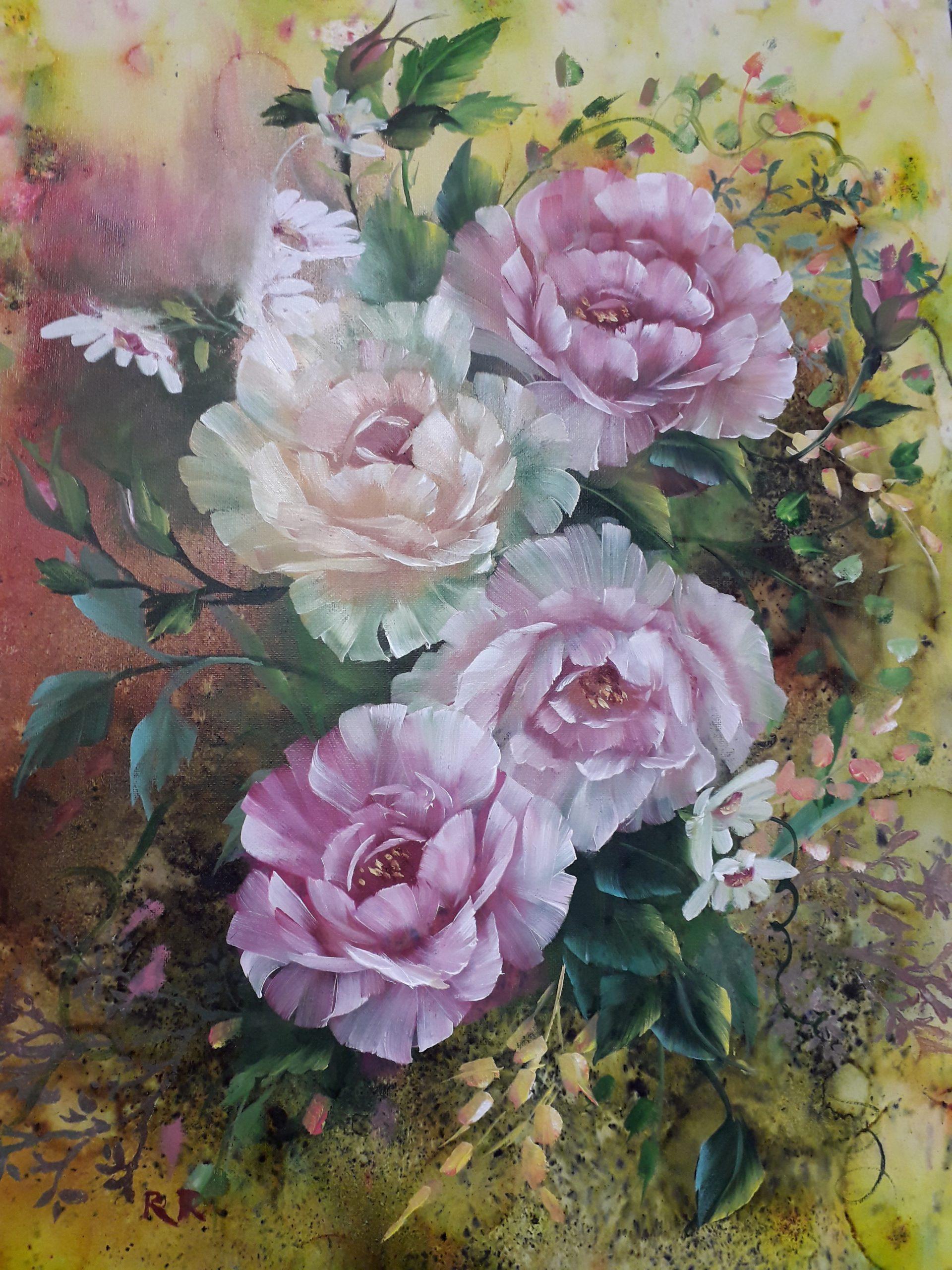 Antique Roses (Brusho, Acrylic & Oils)