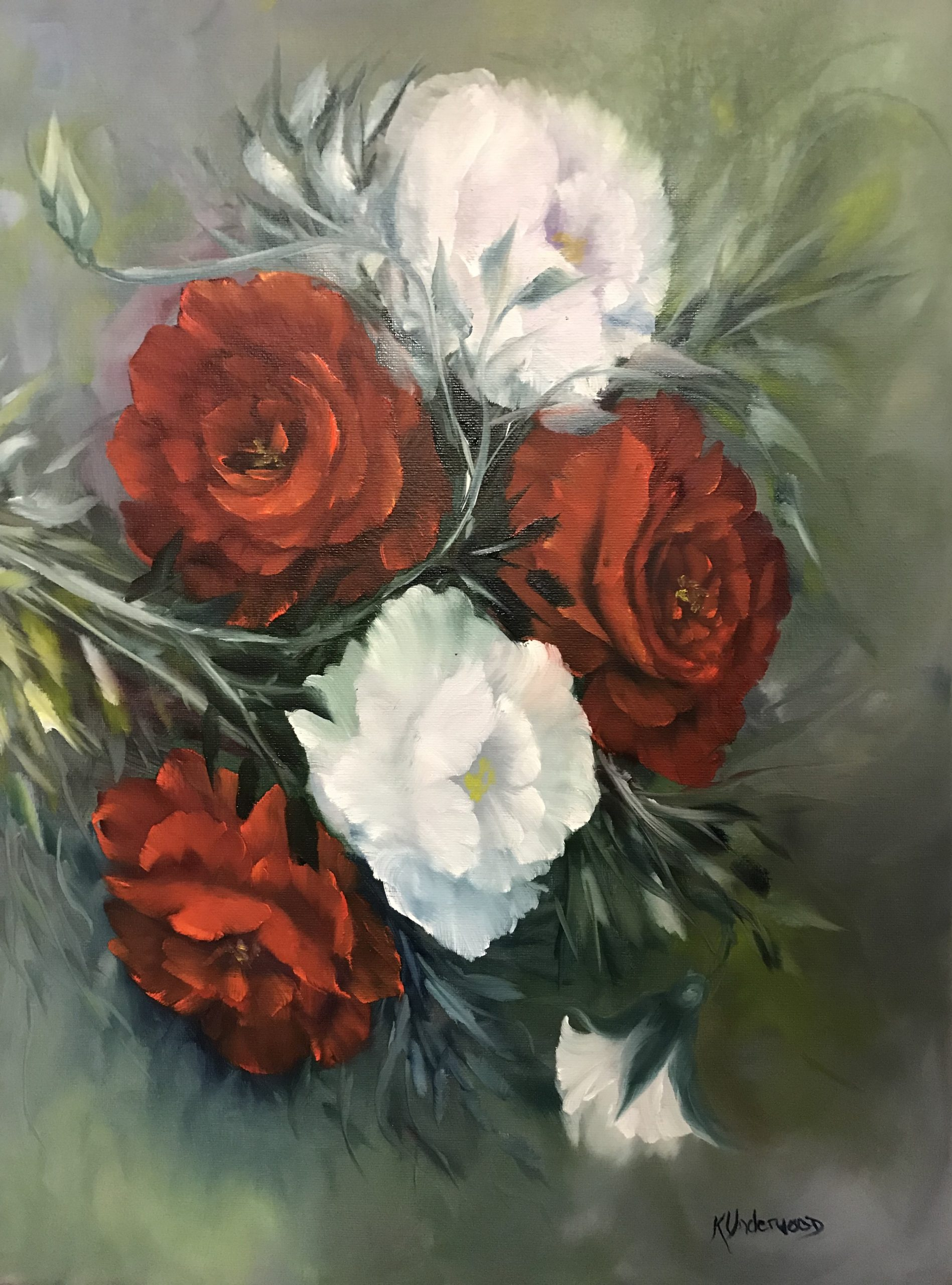 Red & White Roses (Oils)