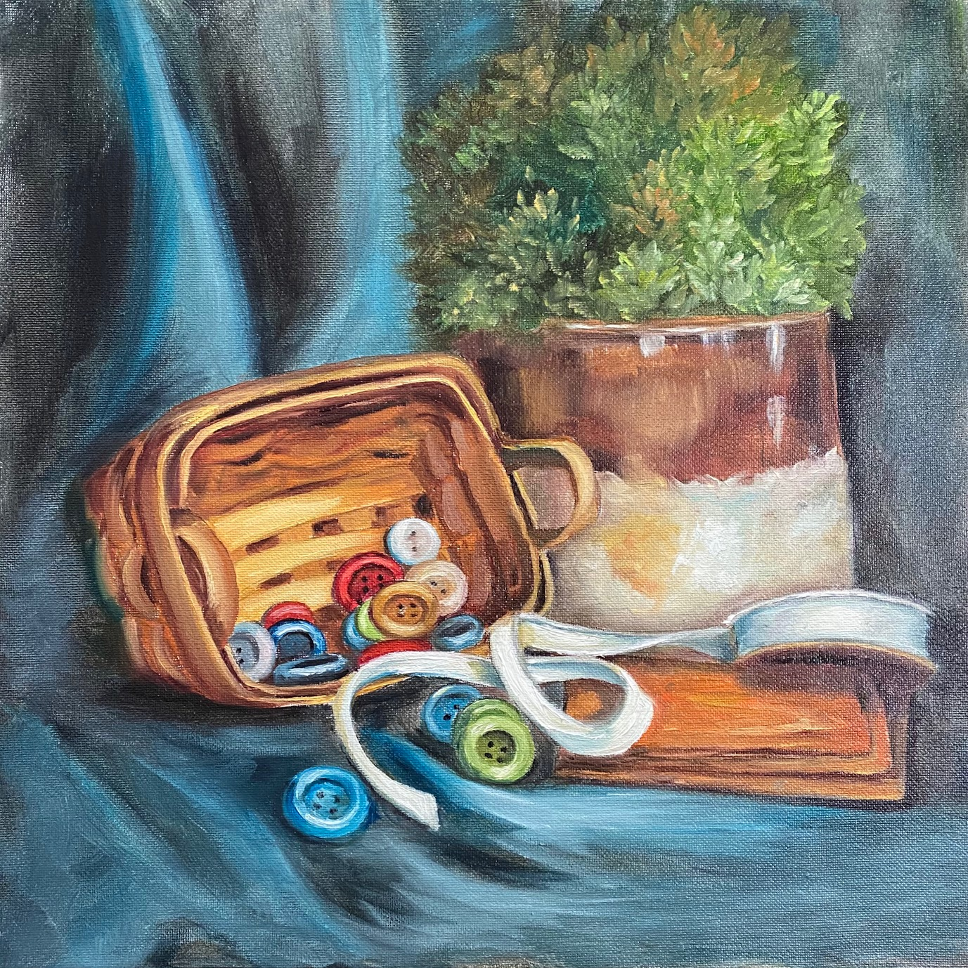 A Basket a Buttons Oil Painting Tutorial